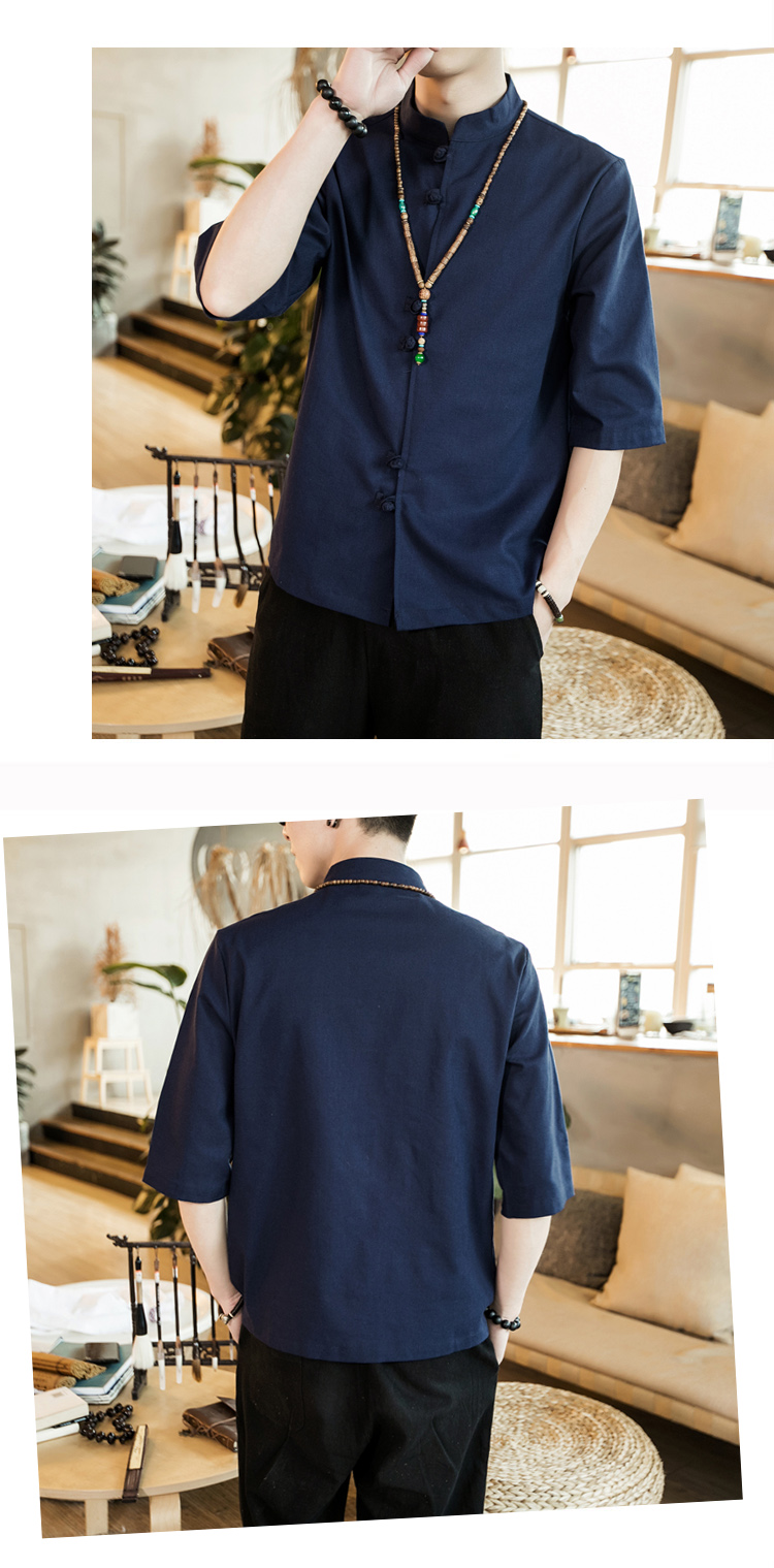 Chinese style summer fashion man's Pure color linen Short sleeve shirt high-grade male comfortable slim fit leisure shirt M-5XL 51