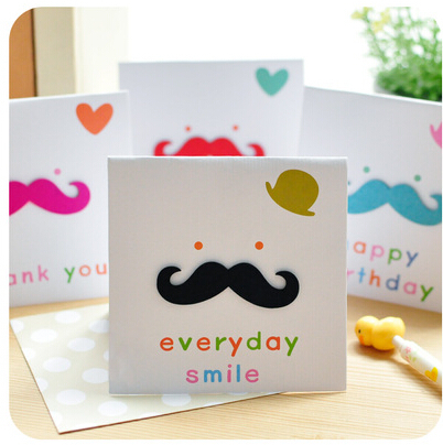 Free Shipping 3D Card Wooden Beard Invitation Creation Birthday And Thanks Greeting Funny Special 12pcs Lot