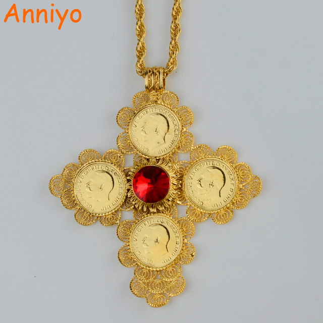 Brand new Anniyo Ethiopian Big Cross Pendants Necklaces Women/Men Gold Color  AX66