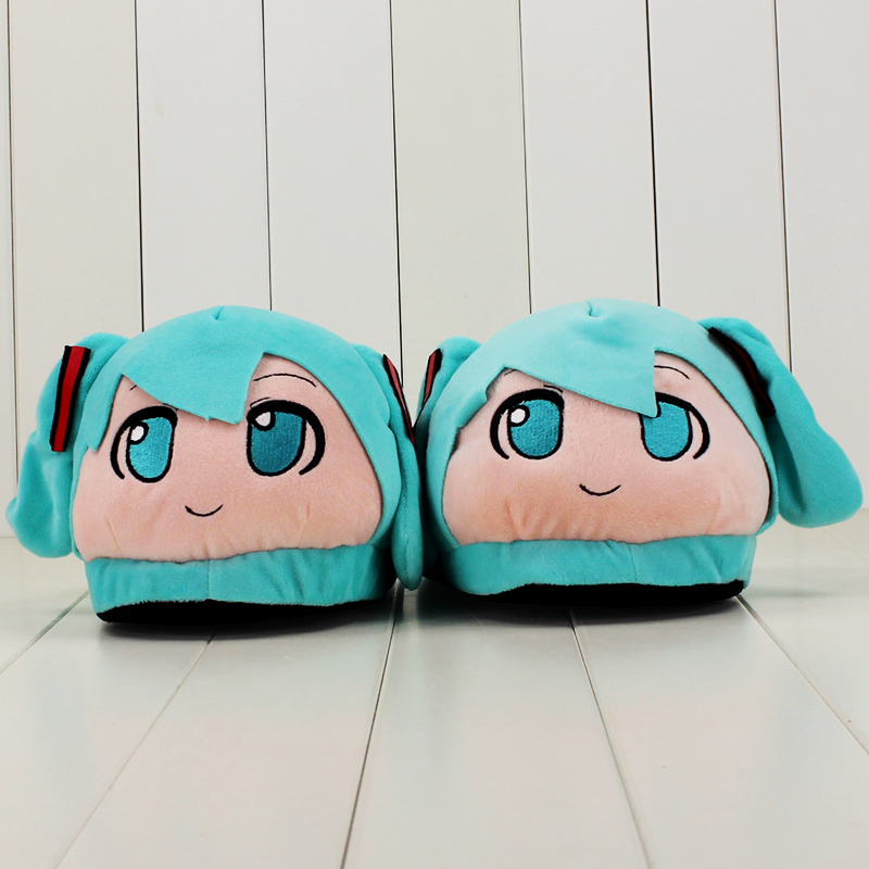 28cm cute Hatsune Miku Slipper kawaii plush slipper soft slipper stuffer doll slipper for girls gift