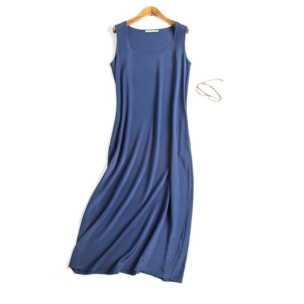 Fashion New Women Long Dress 19MM 100% Silk Sleeveless Dress Wine Black Pockets Dress Summer YH205
