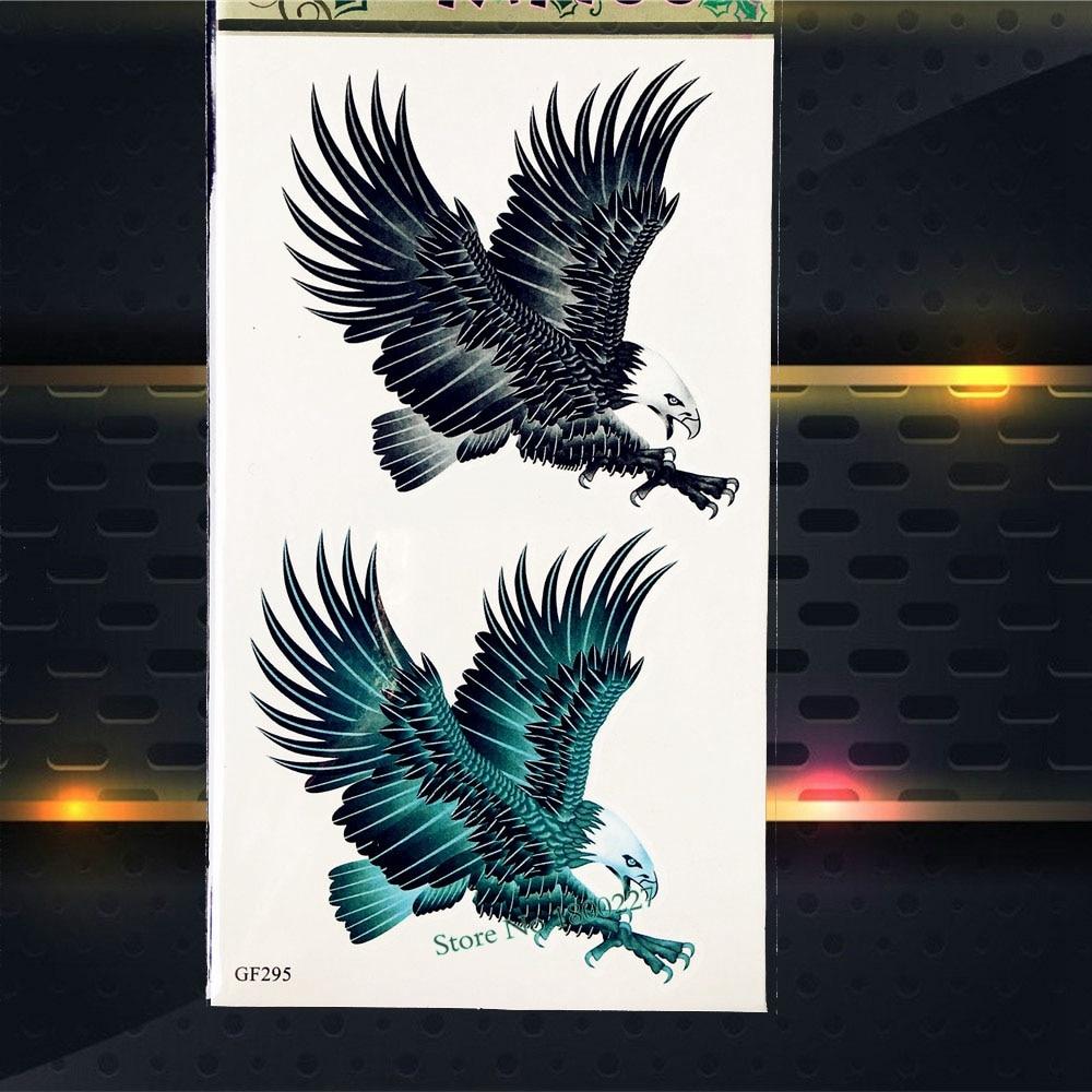3D Black Eagle Waterproof Temporary Tattoo Women Body Art Arm Tattoo Stickers PGF295 Men Totem Tattoos Arm Shoulder Sticker Hawk