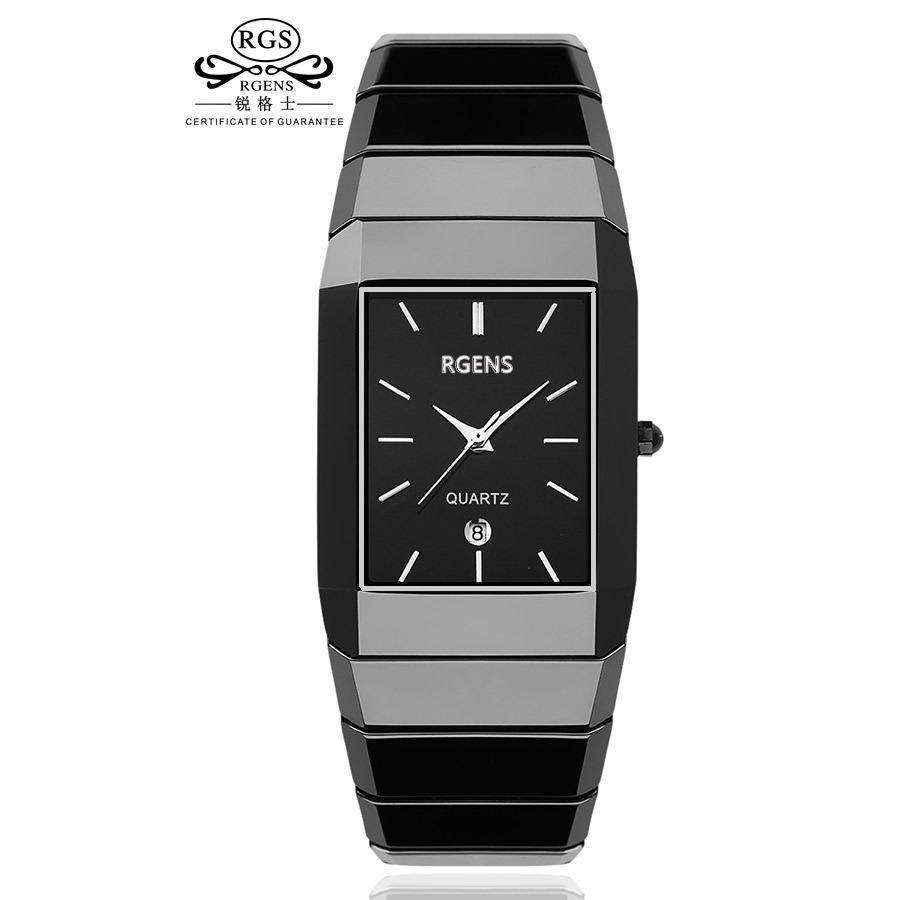 RGENS Original True Ceramic Wrist Watch Men Black Quartz Square Business Male Clocks Waterproof Casual Fashion Wristwatches