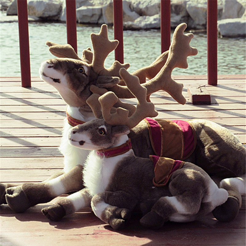 Fancytrader Big Simulated Animal Reindeer Plush Toy Soft Emulational Sika Deer Doll Wapiti Moose Elk Pillow mr froger elk model toy wild animals toys set zoo modeling plastic solid moose wapiti deer classic toy children animal models