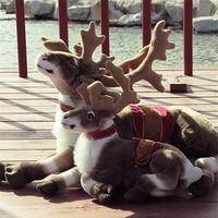 Fancytrader Big Simulated Animal Reindeer Plush Toy Soft Emulational Sika Deer Doll Wapiti Moose Elk Pillow