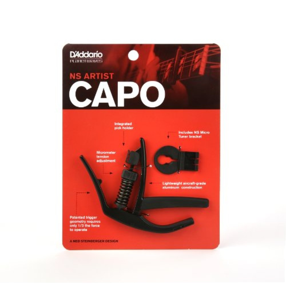 D'addario Planet Waves CP-10 NS Artist Electric Acoustic Tri-Action Guitar Capo with Built-in Pick Holder hot 8x meideal capo10 acoustic electric guitar quick change trigger capo clamp black
