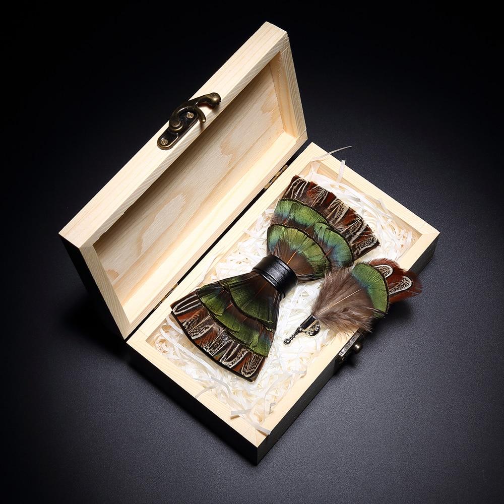 Analytisch Jemygins Neue Original Design Feder Fliege Natürliche Vogel Feder Bogen Handgemachte Leder Fliege Brosche Holz Box Hochzeit Party