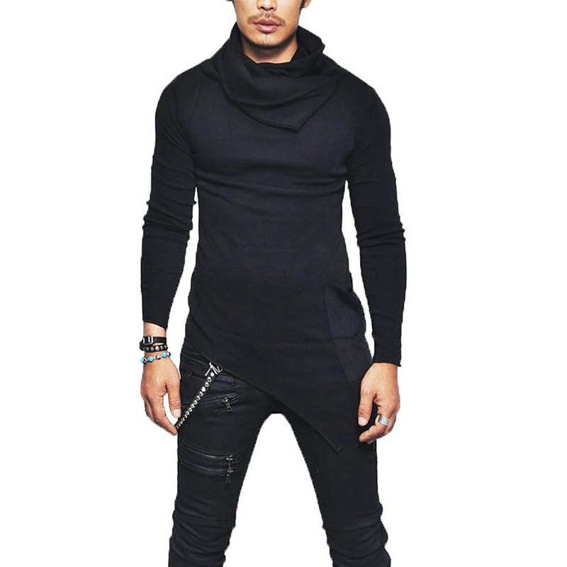 LASPERAL Male Sweater Solid Color Mens Casual Sweater Pullover Sweaters For Mens Men's High-necked Sweaters Irregular Design Top