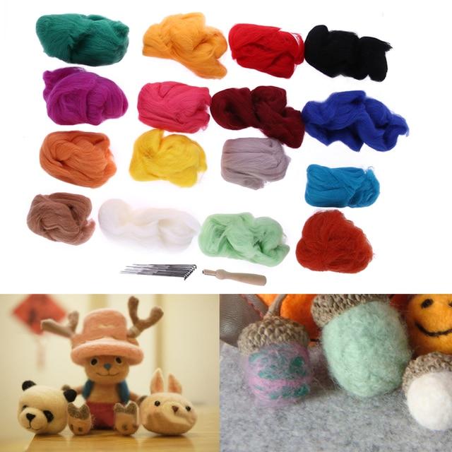 16 Colors Wool Felt with 9 Needles Felting Handle Mat Set DIY Art Handwork Doll Craft Starter Kit Home Sewing Tools
