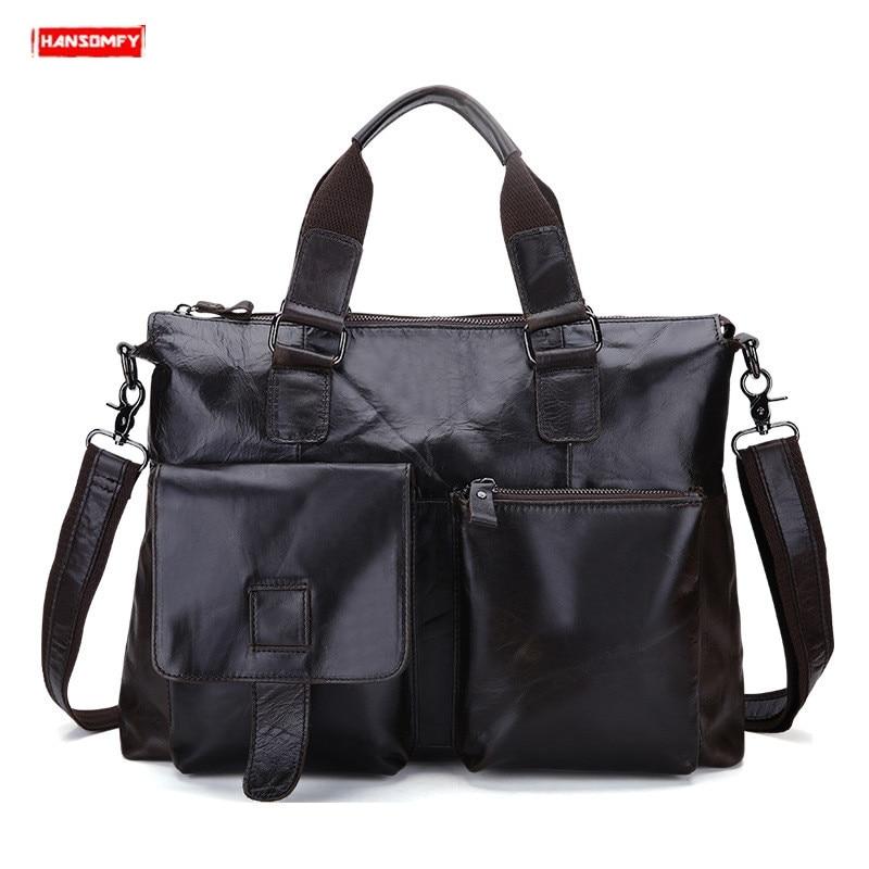 2019 New Genuine Leather Men's Briefcases Large Capacity Laptop Handbag Men Crossbody Bags Business Briefcase Messenger Bag