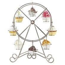 Riesenrad Silber Edelstahl Cupcake Stand Cake Halter Dekorieren Display Hochzeit Liefert