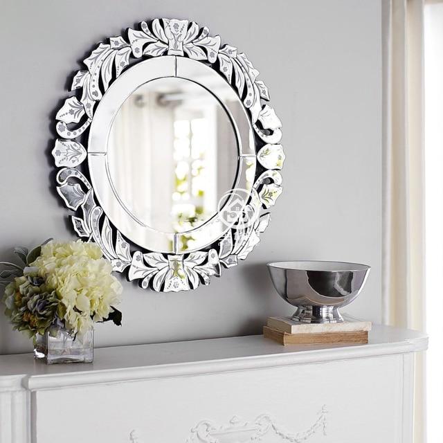 Moderne Ronde Miroir Mural En Verre Console Miroir