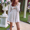 Love 2017 Fashion New Women Couture Lace V Neck Summer Hollow Sleeve Lemons Female Dress