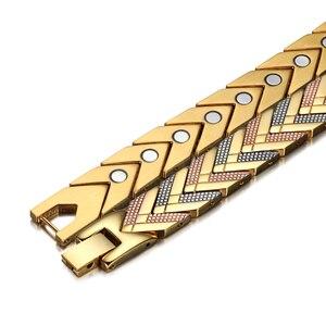 Image 4 - Rainso zdrowie bransoletka magnetyczna bransoletka dla kobiet gorąca sprzedaż bioenergetyczna bransoletka ze stali nierdzewnej złota biżuteria 2020