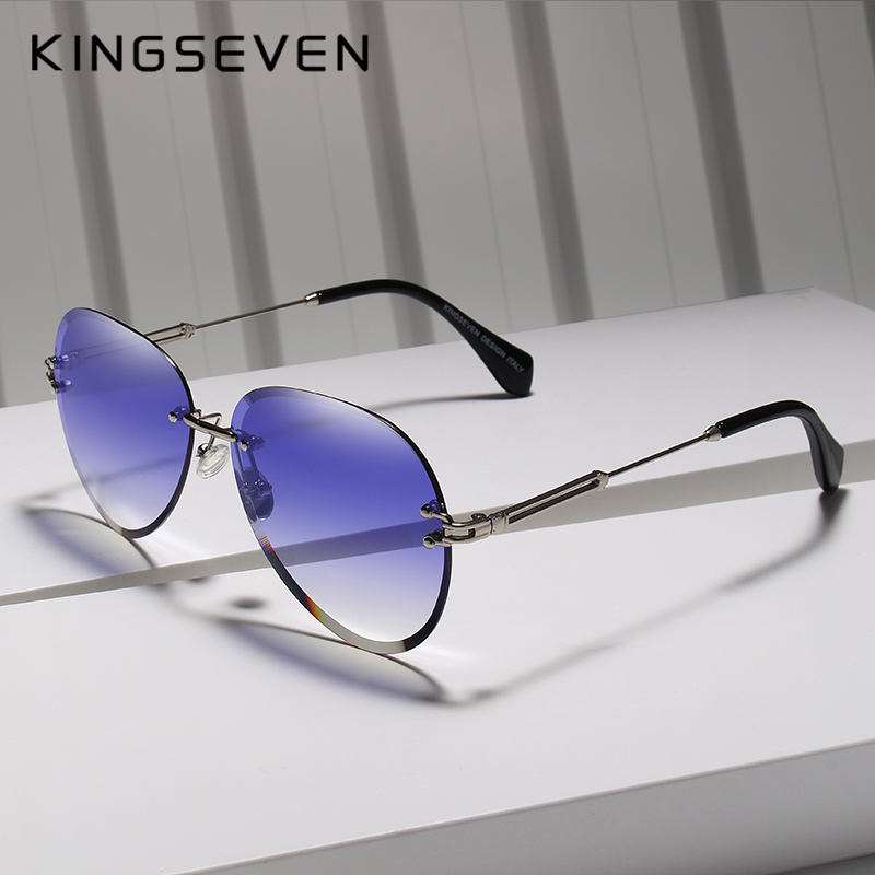 KINGSEVEN 2019 di DISEGNO di Modo Dell'annata occhiali da Sole Senza Montatura Delle Donne Occhiali Da Sole Lenti Sfumate Del Progettista di Marca Oculos De Sol Feminino