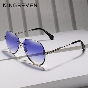 Image 2 - KINGSEVEN 2019 projekt Vintage modne okulary słoneczne bez oprawek kobiet okulary gradientowe szkła marka projektant óculos De Sol Feminino