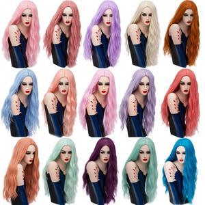 Image 5 - MSIWIGS 70 センチメートルロングピンク波状のかつらコスプレ合成女性のブロンドかつら 29 色耐熱毛