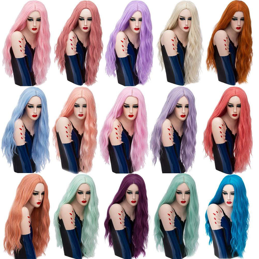 MSIWIGS 70CM Long Pink Wavy Wigs Cosplay Natural Synthetic Women' s Blonde Wig 29 Colors Heat Resistant Hair