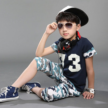 Fashion Design Boys Army Style Summer Clothes Set Kids Cotton Blouse Print Camouflage Shorts Suit Set
