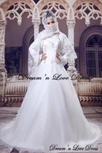 MZY503 ivory white a-line hijab tulle satin wedding gown long sleeve bridal dress muslim wedding dress side zip