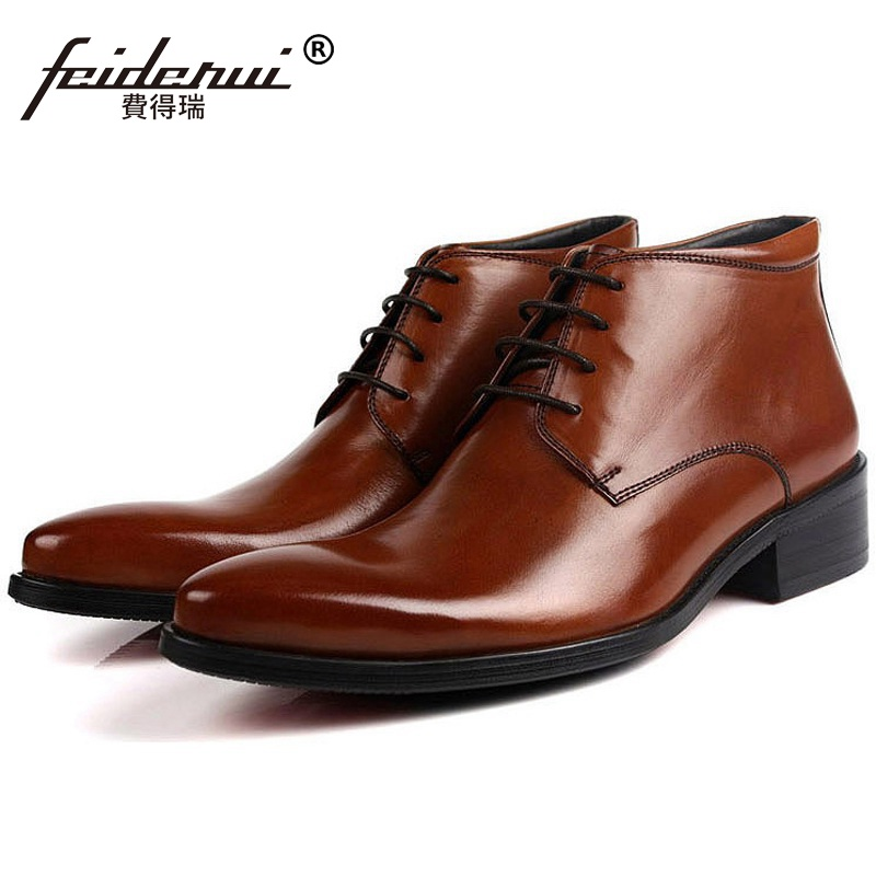 Fashion Pointed Toe Brand Man Handmade Shoes Italian Designer Genuine Leather Male Footwear Men's Cowboy Martin Ankle Boots QC28 цены онлайн