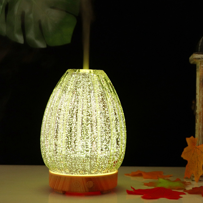 New 3D Led Night Light Air Humidifier Glass Vase Shape Aroma Essential Oil Diffuser Mist Maker Ultrasonic Humidifier Gift
