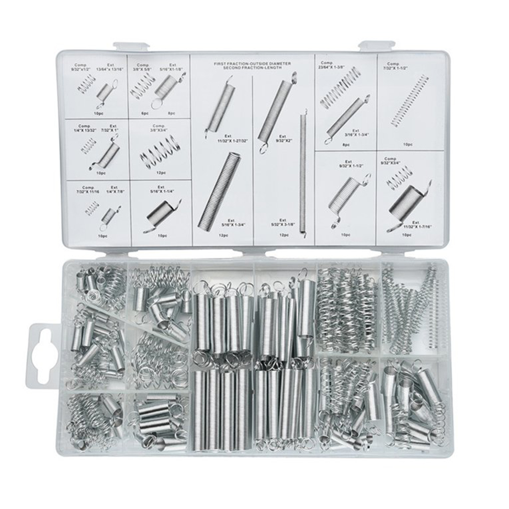 200Pcs/Set Stainless Steel Spring Kit Metal Coil Tension Compression Springs Assortment Hardware Accessories for Electronics 200pcs set flexible springs 20 sizes practical metal tension compresion springs assortment spring stack