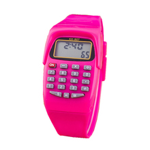 font b Calculator b font Watch LED Children Fashion Colorful Plastic Electronic Jelly Student Casual