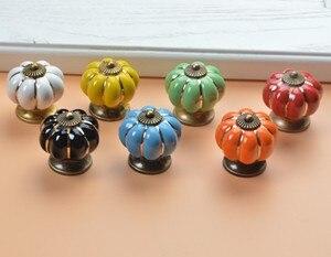 Image 2 - 10pcs 40mm Ceramic pumpkins Cabinet Knobs Furniture Handles Dresser Drawer Handles Door Knob Screw Home Decorating Cane Toppers