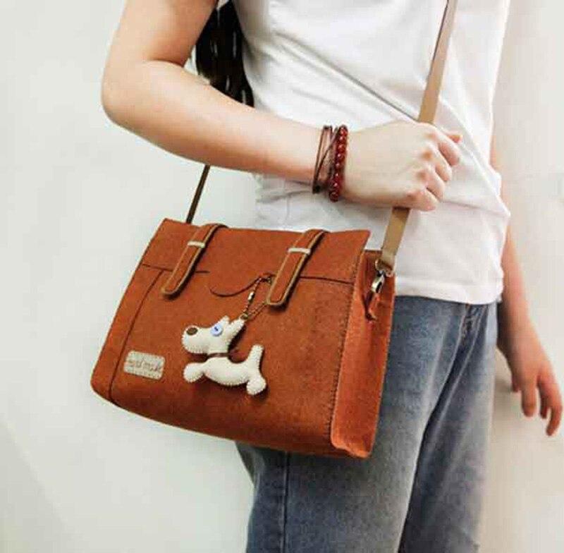 Дешевые цены сумочка Для женщин чувствовал мешок свободное время ручной работы коричневый Цвет сумки Наборы фетра для рукоделия