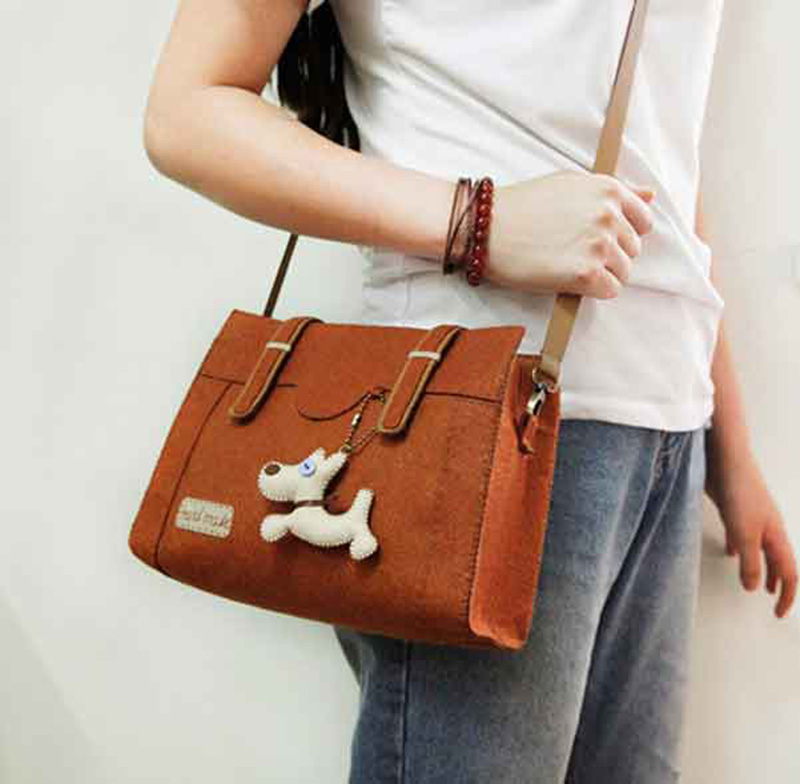 Cheap Price Handbag Women Felt Bag Free Time Handmade Sewing Brown Color Tote Bags Felt DIY Package