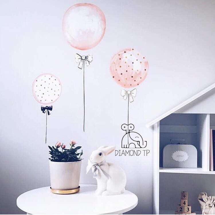 INS 3D cartoo Bows Pink flower balloons Flag wall sticker for kids rooms decal bedroom living room mural home party decor