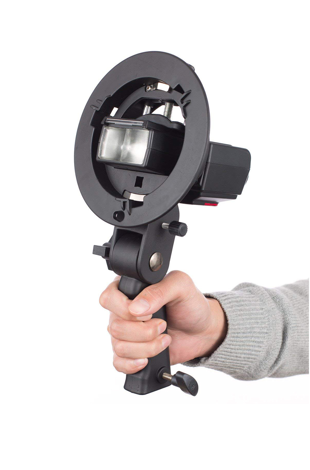 Handheld Grip S-Type Bracket Holder with Bowens Mount for Speedlite Flash Snoot Softbox Beauty Dish Photography Accessories (2)
