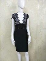 22017 חדש תחבושת שמלה ללא שרוולים Slim הדוק v צוואר תחרה שחור לנשים קיץ סלבריטאים המפלגה Bodycon בנות