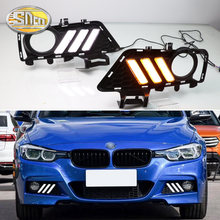 For BMW F30 3 Series 2018 2019 Daytime running lights LED DRL Fog lamp driving lights with Yellow Turn Signal Function Relay(China)