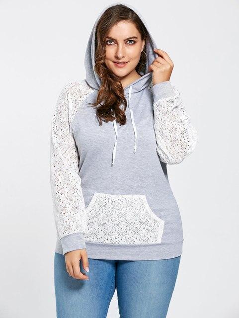 Gamiss Autumn Lace Casual Hoodies With Kangaroo Pocket Full Sleeve Raglan  Sleeve Pocket Hoodie Women Tops