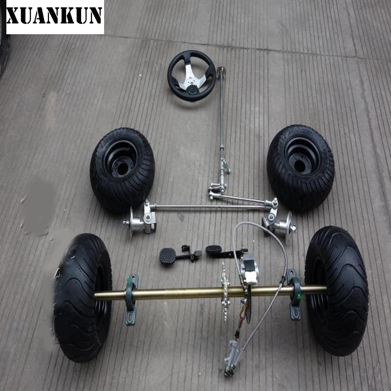 XUANKUN Modified Drift Kart 168CC Karting Modified Rear Axle Suspension Front Axle Steering Kit 6 Inch Tires Rear Axle