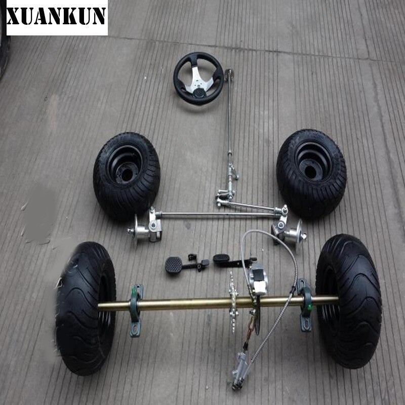 XUANKUN modifié dérive Kart 168CC Karting modifié essieu arrière Suspension essieu avant Kit de direction 6 pouces pneus essieu arrière