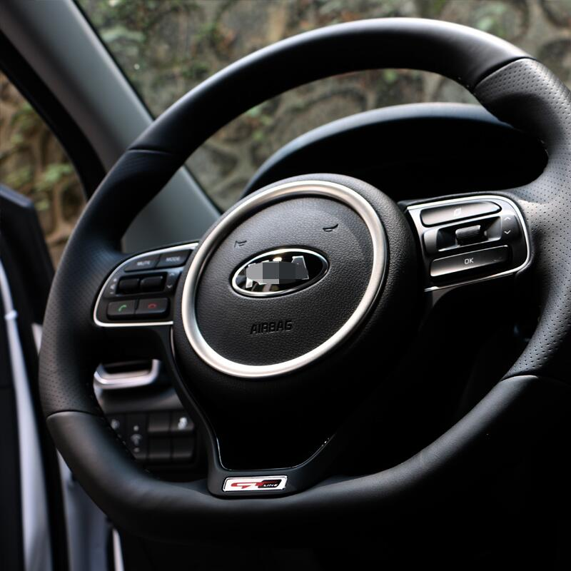 Stainless Steel Car Styling Steering Wheel Logo Emblems Ring Trim Decoration Sticker For Kia Sportage 2016