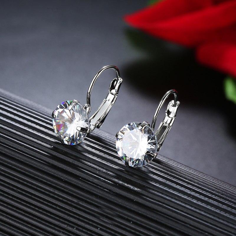 CARSINEL 7 Color Luxury Female Zirconia Hoop Earrings Silver Color CZ Crystal Round Earrings For Women Jewelry Wholesale