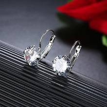 CARSINEL 7 kolor luksusowy żeński cyrkonia Hoop kolczyki srebrny kolor CZ kryształowe okrągłe kolczyki dla kobiet biżuteria hurtownia tanie tanio Hoop Earrings Moda Trendy Miedzi ER0520 Cubic Zirconia 3 4g 10mm 21mm Silver color