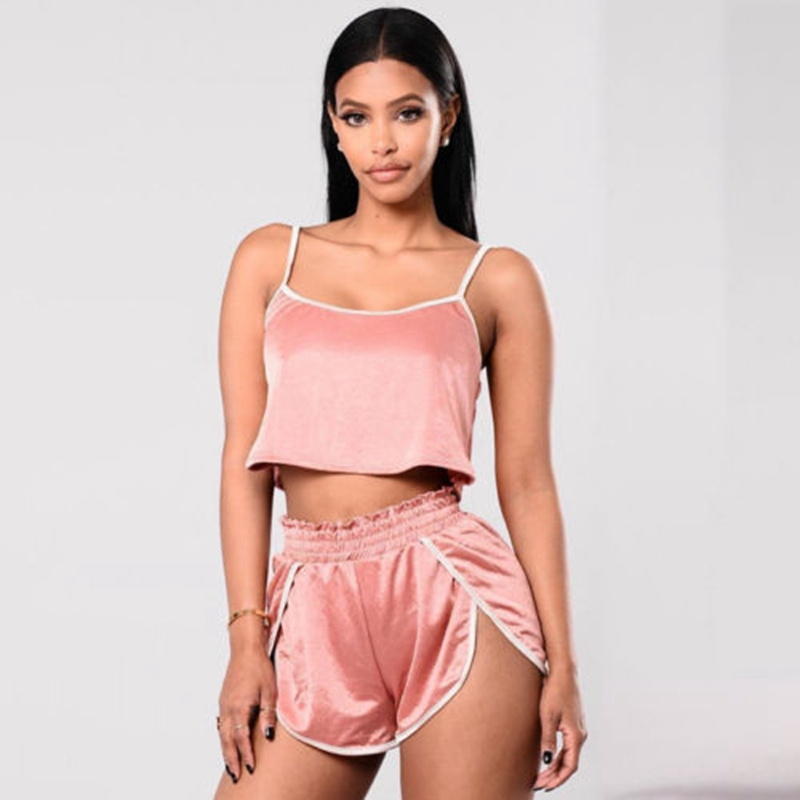 2018 Women Summer Sexy Two Piece Loose Set Crop Top Pants Atheltic Outfit Shorts Sport Volleyball Sets costumi moda 2019