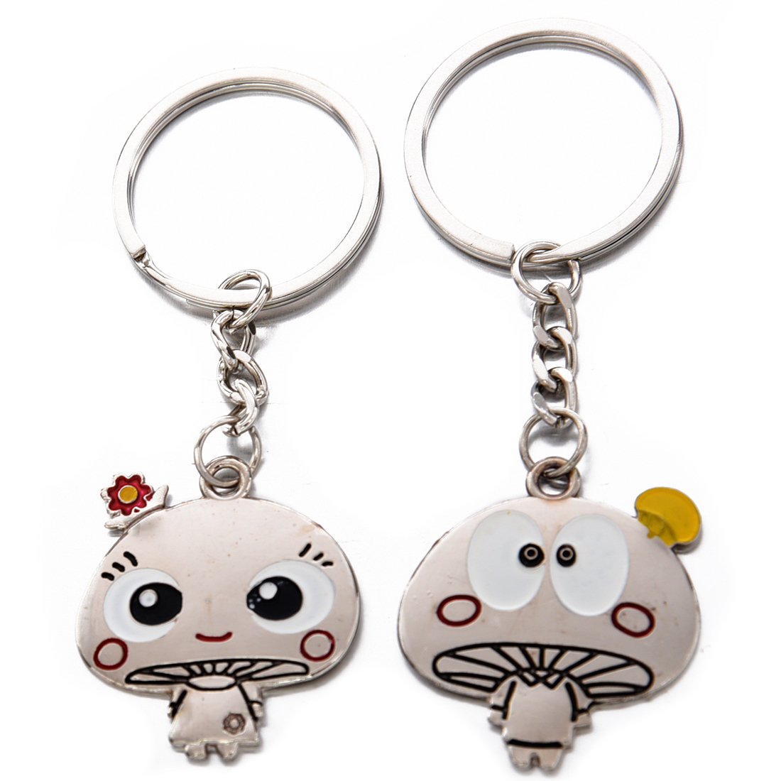SAF-Mushroom Lovers Alloy Metal Keychain Keyring/love Couple Keychain Unique Special Cute Novel Gift a Pair