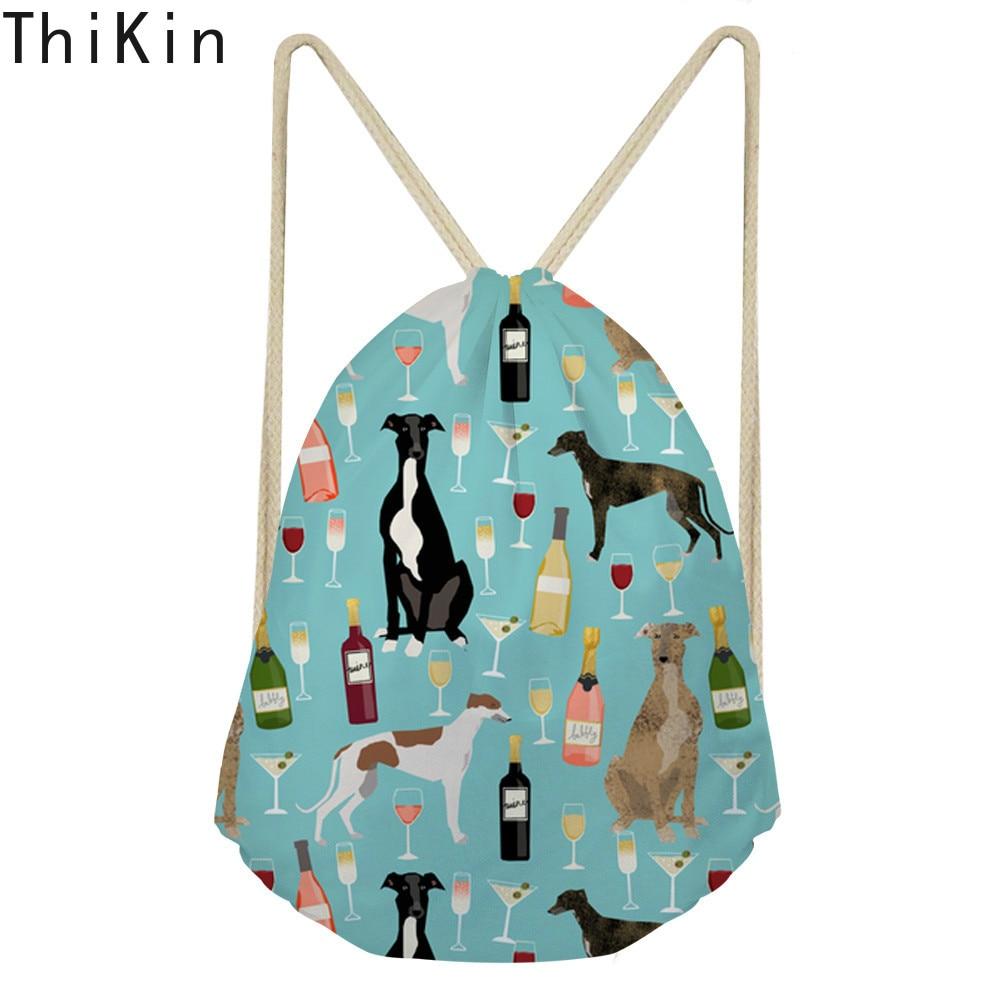 THIKIN Greyhound Black Pet Linen Drawstring Bag Travel Women Small Cloth Storage Backpack Cartoon Printing Christmas Gift Pouch