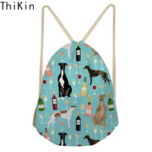 THIKIN Greyhound Black Pet Linen Drawstring Bag Travel Women Small Cloth Storage Backpack Cartoon Printing Christmas Gift Pouch