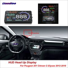 Liandlee For Peugeot 301 For Citroen C-Elysee 2012-2018 Safe Driving Screen OBD Car HUD Head Up Display Projector Windshield liandlee car hud head up display for chevrolet colorado s10 gmc canyon 2012 2018 safe driving screen obd projector windshield