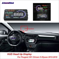 Liandlee For Peugeot 301 For Citroen C Elysee 2012 2018 Safe Driving Screen OBD Car HUD Head Up Display Projector Windshield
