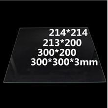 214*214 213*200 300*200 300*300*3mm Tempered glass heatbed  For RepRap CR10 3d printer parts hotbed bigger 2015 mk2a 300 200 3 0mm reprap ramps 1 4 pcb heatbed led resistor cable thermistors for 3d printer mk2b