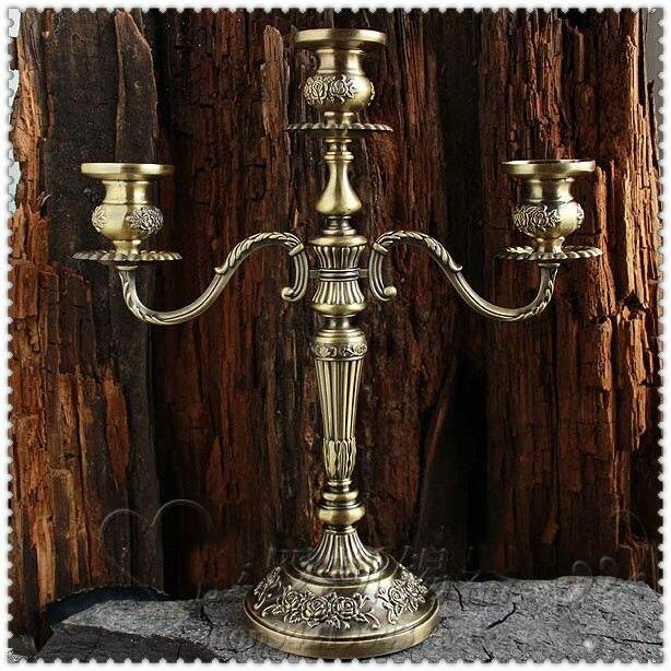 H35cm bronze floral sculpté 3/5 bras en métal bougeoirs bougeoir cage à oiseaux vintage candélabres pour la maison decorationZT2012
