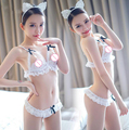 Erotic Bra Erotico Underwear Women Lace Clothes Sutians Para Mulheres Sexy Bustier Three-Point Open Crotch Brassiere Thong T1467